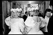 LADY EDWARD SOMERSET; ELISABETH MURDOCH, BRIDESMAIDS AT THE  MURDOCH/ODEY WEDDING.  Chester Sq. London. 1985. SUPPLIED FOR ONE-TIME USE ONLY> DO NOT ARCHIVE. © Copyright Photograph by Dafydd Jones 248 Clapham Rd.  London SW90PZ Tel 020 7820 0771 www.dafjones.com