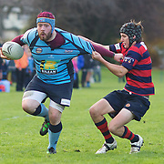 Russell Longthorne of Wakapitu is tackled by Blake Lindsay of Arrowtown during the Wakatipu V Arrowtown Rugby Match at Queenstown Recreation Ground,  Queenstown, South Island, New Zealand, 11th June 2011