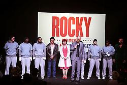 19.02.2015, Palladium Theater, Stuttgart, GER, Musical Rocky, Pressekonferenz, im Bild Nkolas Heiber (Rocky Darsteller), Gino Emnes (Apollo Darsteller in Rocky) bei einem Kurzauftritt // during a press conference of the musical Rocky at Palladium Theater in Stuttgart, Germany on 2015/02/19. EXPA Pictures © 2015, PhotoCredit: EXPA/ Eibner-Pressefoto/ Hofer<br /> <br /> *****ATTENTION - OUT of GER*****