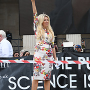 24 July 2021, Trafalgar London. Speaker Kate Shemirani in London to oppose covid vaccines and government restrictions, London, UK.