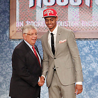28 June 2012: Jeremy Lamb, picked up by the Houston Rockets, poses with David Stern during the 2012 NBA Draft, at the Prudential Center, Newark, New Jersey.