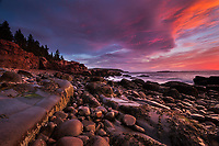 Sunrise light along the rocky coast of Acadia National Park in Maine near Thunder Hole. (3 stop grad ND)