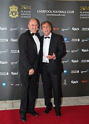 LIVERPOOL, ENGLAND - Tuesday, May 6, 2014: Liverpool's Legends Phil Neal and Alan Kennedy arrive on the red carpet for the Liverpool FC Players' Awards Dinner 2014 at the Liverpool Arena. (Pic by David Rawcliffe/Propaganda)
