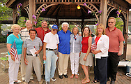 At the Historical Society of the Merricks' July 4th annual reading of the Declaration of Independence at Merrick Gazebo are (L to R) front row: visitor Marion Fraker-Gutin, and HSM Board of Trustees members Jay Pitti, Neil Yeoman, Larry Garfinkel, Adrienne Garfinkel, Linda Bekore, Claudia Borecky, Paul Laursen, and back row: board members Jerry Medowar and Joe Baker.