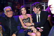 ROBERTO CAVALLI; RONNI SASSOON, Dinner and party  to celebrate the launch of the new Cavalli Store at the Battersea Power station. London. 17 September 2011. <br /> <br />  , -DO NOT ARCHIVE-© Copyright Photograph by Dafydd Jones. 248 Clapham Rd. London SW9 0PZ. Tel 0207 820 0771. www.dafjones.com.