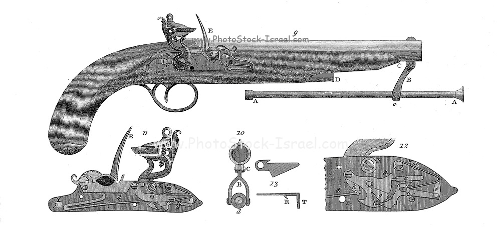 Baker's Improved Pistol Copperplate engraving From the Encyclopaedia Londinensis or, Universal dictionary of arts, sciences, and literature; Volume XX;  Edited by Wilkes, John. Published in London in 1825