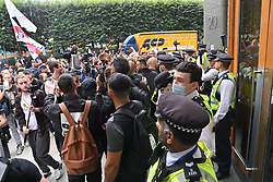 © Licensed to London News Pictures. 03/09/2021. London, UK. Anti Lockdown and anti Covid vaccination protesters take part in a demonstration outside 20 Cabot Square office in Canary Wharf calling for an end to mandatory vaccination passports and vaccination of teenagers. Photo credit: London News Pictures
