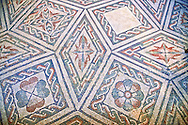 Detail of the geometric  Roman mosaics at the Villa Romana del Casale which containis the richest, largest and most complex collection of Roman mosaics in the world, circa the first quarter of the 4th century AD. Sicily, Italy. A UNESCO World Heritage Site. .<br /> <br /> If you prefer to buy from our ALAMY PHOTO LIBRARY  Collection visit : https://www.alamy.com/portfolio/paul-williams-funkystock/villaromanadelcasale.html<br /> Visit our ROMAN MOSAICS PHOTO COLLECTIONS for more photos to buy as buy as wall art prints https://funkystock.photoshelter.com/gallery/Roman-Mosaics-Roman-Mosaic-Pictures-Photos-and-Images-Fotos/G00008dLtP71H_yc/C0000q_tZnliJD08