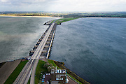 Nederland, Zuid-Holland, Stellendam, 23-10-2013; Haringvlietsluizen en Haringvlietdam, zesde werk van de Deltawerken, verbindt  met de N57 Voorne-Putten en Goeree-Overflakkee. <br /> The Haringvliet sluices closed off the estuary of the Haringvliet as part of the Delta Works. <br /> luchtfoto (toeslag op standaard tarieven);<br /> aerial photo (additional fee required);<br /> copyright foto/photo Siebe Swart.