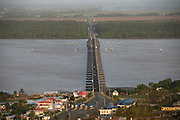 Pontoon bridge Berbice river<br /> Berbice River<br /> East GUYANA<br /> South America