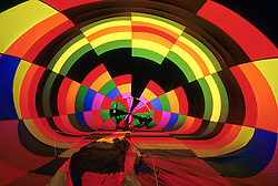 United States, New Mexico, Albuquerque, interior of hot air balloon being inflated at annual Albuquerque International Balloon Fiesta, held in October