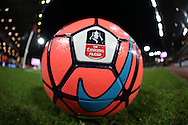 a general view of an Official FA Cup match ball. The Emirates FA cup, 4th round replay match, West Ham Utd v Liverpool at the Boleyn Ground, Upton Park  in London on Tuesday 9th February 2016.<br /> pic by John Patrick Fletcher, Andrew Orchard sports photography.