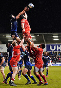 Sale Sharks second-row Bryn Evans collects a line-out throw during a Gallagher Premiership Rugby Union match Sale Sharks -V- Leicester Tigers, won by Sale 36-3 Friday, Feb. 21, 2020, in Eccles, United Kingdom. (Steve Flynn/Image of Sport via AP)