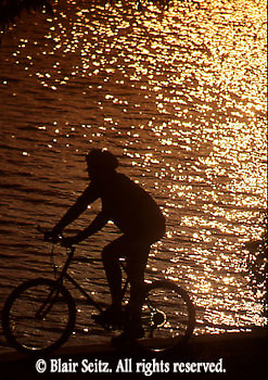 Bicycling, Pennsylvania, Outdoor recreation, Biking in PA Bicycling, Young Male, PA Lake Sunset