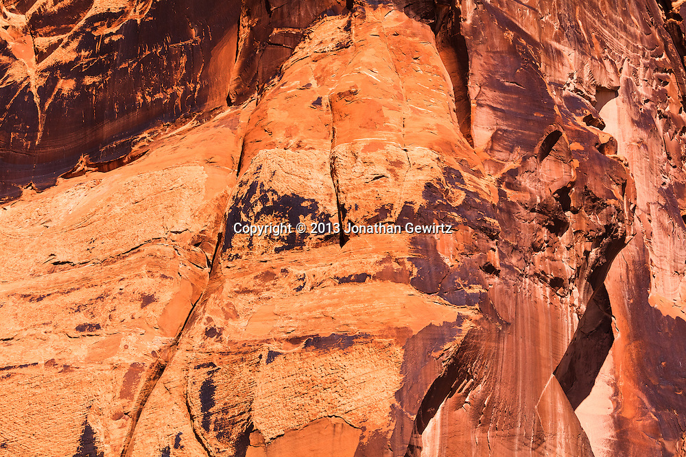 """""""Desert varnish"""" on rock canyon walls along Utah Highway 279 which runs along the Colorado River near Moab, Utah. WATERMARKS WILL NOT APPEAR ON PRINTS OR LICENSED IMAGES."""
