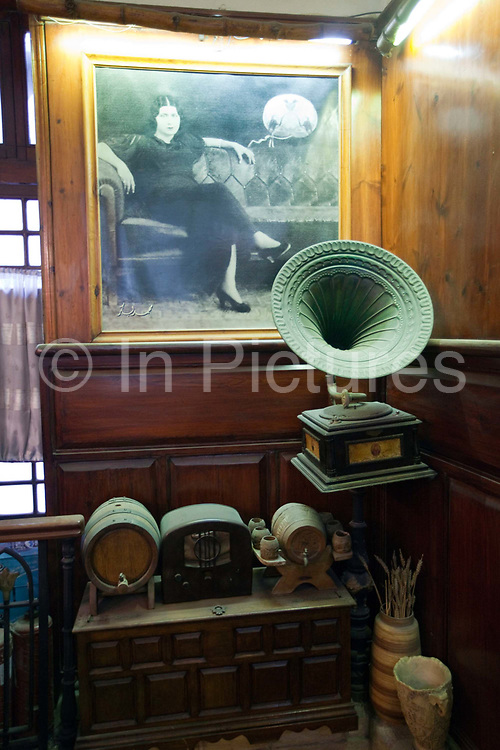 An antique gramophone in the Cafe Riche, Cairo, Egypt