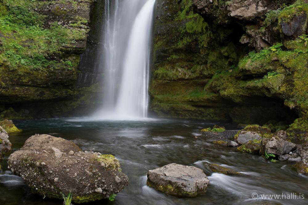 The waterfall Gluggafoss in Fljotshlid, sotuh Iceland - Gluggafoss í Fljótshlíð