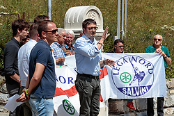 07.07.2017, Brenner-Ort, ITA, Grenzsicherungsmaßnahmen am Brenner, PK Lega Nord,  im Bild Maurizio Fugatti (Lega Nord) // Maurizio Fugatti (Lega Nord) during a press conference and demonstration of the Italian Lega Nord Party in Brenner-Ort, Italy on 2017/07/07. EXPA Pictures © 2017, PhotoCredit: EXPA/ Groder Johann