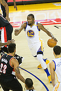 Golden State Warriors forward Kevin Durant (35) attacks the basket against the Portland Trail Blazers at Oracle Arena in Oakland, Calif., on October 21, 2016. (Stan Olszewski/Special to S.F. Examiner)