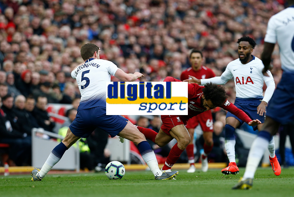 Football - 2018 / 2019 Premier League - Liverpool vs. Tottenham Hotspur<br /> <br /> Mohamed Salah of Liverpool fails to get past Jan Vertonghen and Danny Rose of Tottenham Hotspur, at Anfield.<br /> <br /> COLORSPORT/ALAN MARTIN