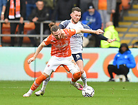 Blackpool's James Husband and Preston North End's Alan Browne battle for the ball<br /> <br /> Photographer Dave Howarth/CameraSport<br /> <br /> The EFL Sky Bet Championship - Blackpool v Preston North End - Saturday 23rd October 2021 - Bloomfield Road - Blackpool<br /> <br /> World Copyright © 2020 CameraSport. All rights reserved. 43 Linden Ave. Countesthorpe. Leicester. England. LE8 5PG - Tel: +44 (0) 116 277 4147 - admin@camerasport.com - www.camerasport.com