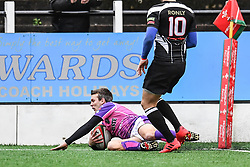Pontypridd's Alex Webber scores his sides first try - Mandatory by-line: Craig Thomas/Replay images - 30/12/2017 - RUGBY - Sardis Road - Pontypridd, Wales - Pontypridd v Bedwas - Principality Premiership