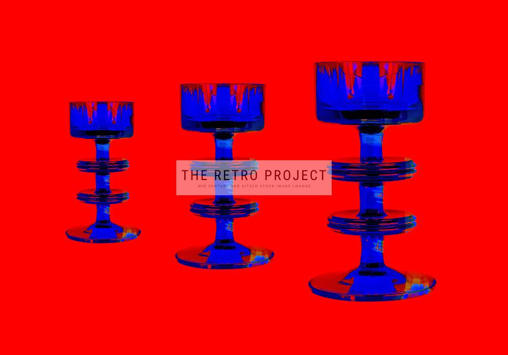 Sixties Pop Art Glassware on red background