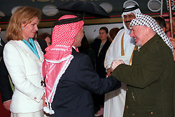 L-R : Queen Noor, King Hussein, Emir of Qatar Sheikh Hamad bin Khalifa Al Thani and Palestinian leader Yasser Arafat seen at Amman airport, Jordan on January 19, 1999. Twenty years ago, end of January and early February 1999, the Kingdom of Jordan witnessed a change of power as the late King Hussein came back from the United States of America to change his Crown Prince, only two weeks before he passed away. Photo by Balkis Press/ABACAPRESS.COM