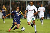 FOOTBALL - FRENCH CHAMPIONSHIP 2010/2011 - L1 - ARLES AVIGNON v OLYMPIQUE MARSEILLE - 18/09/2010 - PHOTO PHILIPPE LAURENSON / DPPI - EDOUARD CISSE (OM) / JAMAL AIT BEN IDIR (ACA)