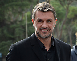 March 12, 2018 - Rome, Italy - AC Milan's former player Paolo Maldini during the ceremony Walk of Fame in Rome, Italy, on 12 March 2018. The Walk of Fame is enriched with 5 more samples. Along the Via Olimpiadi, which leads straight to the Olympic stadium in Rome, new plates have been added dedicated to five blue champions no longer in business: the historic Milan captain and national defender, soccer player Paolo Maldini, the swimmer Massimiliano Rosolino, the middle distance runner Luigi Beccali, the cyclist Ercole Baldini and the volleyball player Samuele Papi. (Credit Image: © Silvia Lore/NurPhoto via ZUMA Press)