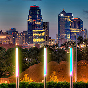Downtown Kansas City MO skyline from Hospital Hill Park. Lighting installation by Lightworks KC.