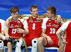 September 30, 2018 - Turin, Italy - Poland v Brazil - FIVP Men's World Championship Final.Jakub Kochanowski, Damian Schulz and Mateusz Bieniek of Poland waiting for the award ceremony at Pala Alpitour in Turin, Italy on September 30, 2018. (Credit Image: © Matteo Ciambelli/NurPhoto/ZUMA Press)