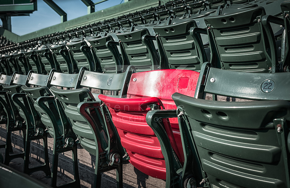 "[Note: This high dynamic range photo was created from a single exposure during post-processing.] ""The Red Seat"" in Fenway Park where the ball landed from a 502 foot home run hit by Ted Williams in 1946.  The seat is section 42, row 37, seat 21."