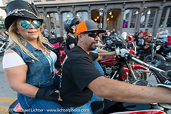 Riding down the Strand during the Lone Star Rally. Galveston, TX. USA. Friday November 3, 2017. Photography ©2017 Michael Lichter.