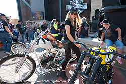 Karen Davidson at the Harley-Davidson Editors Choice Custom Bike Show during the annual Sturgis Black Hills Motorcycle Rally. SD, USA. August 9, 2016. Photography ©2016 Michael Lichter.