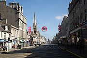 Shops traffic people, Union Street, Aberdeen, Scotland