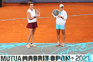 Aryna Sabalenka of Belarus with the champions trophy and Ashleigh Barty of Australia with the runners up trophy after the final match at the Mutua Madrid Open 2021, Masters 1000 tennis tournament on May 8, 2021 at La Caja Magica in Madrid, Spain - Photo Laurent Lairys / ProSportsImages / DPPI