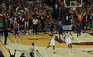 COPYRIGHT DAVID RICHARD.Quicken Loans Arena erupts after rookie guard Daniel Gibson, left, made his fifth 3-point goal inCleveland's win over Detroit..Detroit Pistons at Cleveland Cavaliers in Game 6 of the NBA Eastern Conference Finals, June 2, 2007.