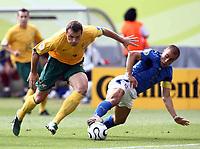 Foto Omega/Colombo<br /> 26/06/2006 Campionati Mondiali di Calcio 2006<br /> Ottavi di Finale <br /> Italia -Australia  <br /> nella foto :  Fabio Cannavaro  e mark Viduka