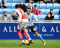 Coventry City's Jacob Murphy vies for possession with Fleetwood Town's Amari'i Bell<br /> <br /> Photographer Andrew Vaughan/CameraSport<br /> <br /> Football - The Football League Sky Bet League One - Coventry City v Fleetwood Town - Saturday 27th February 2016 - Ricoh Stadium - Coventry   <br /> <br /> © CameraSport - 43 Linden Ave. Countesthorpe. Leicester. England. LE8 5PG - Tel: +44 (0) 116 277 4147 - admin@camerasport.com - www.camerasport.com
