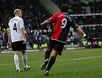 Photo: Steve Bond/Sportsbeat Images.<br />Derby County v Blackburn Rovers. The FA Barclays Premiership. 30/12/2007. Roque Santa Cruz (R) wheels away after scoring. Jay McEveley (L) looks dejected