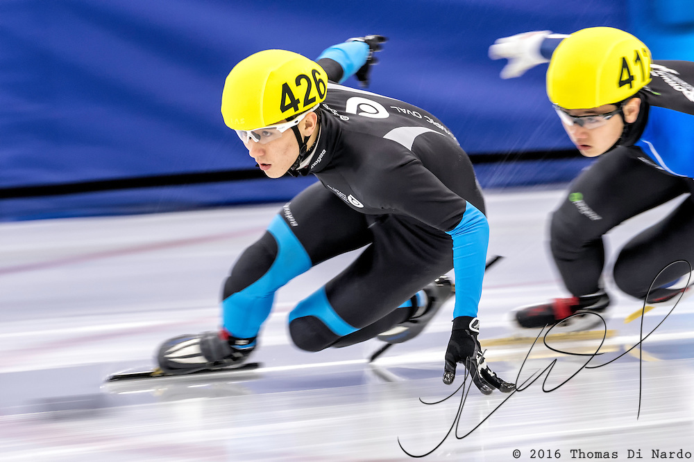 December 17, 2016 - Kearns, UT - Benjamin Thornock and Brandon Kim skates during US Speedskating Short Track Junior Nationals and Winter Challenge Short Track Speed Skating competition at the Utah Olympic Oval.
