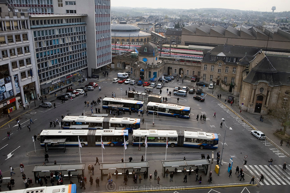 Bus and train station in Luxembourg, Luxembourg.