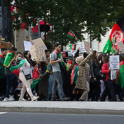 Marble arch, London, UK. 2021-08-28. Hundreds of Afghanis mostly young people protest to Stop Killing Afghans march in London shout for peace end the proxy war in Afghanistan. Americans has betray Afghanistan. Credit: Picture Capital
