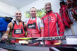 Miha Plahutnik, Stefan Lichon and Gianluca Marcolini in the service center of Slovenian Nordic team at FIS Nordic World Ski Championships Liberec 2008, on February 22, 2009, in Vestec, Liberec, Czech Republic. (Photo by Vid Ponikvar / Sportida)