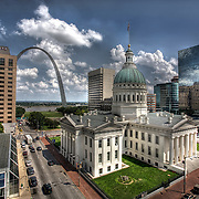 Downtown St. Louis, Old Courthouse and Gateway Arch, both part of Gateway National Park.