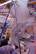 At Stan Winston Studios outside L.A. in Van Nuys, CA., the first scale model T.rex for Steven Spielberg's Jurassic Park is being created.  Stan is one of Hollywoods most innovative character creators.