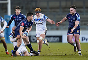 Sale Sharks Cameron Neild off loads to Sale Sharks Ewan Ashman during a Gallagher Premiership Round 9 Rugby Union match, Friday, Feb 12, 2021, in Leicester, United Kingdom. (Steve Flynn/Image of Sport)