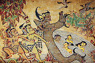 Indonesia, Bali. Traditional balinese wall painting from Klunkung.