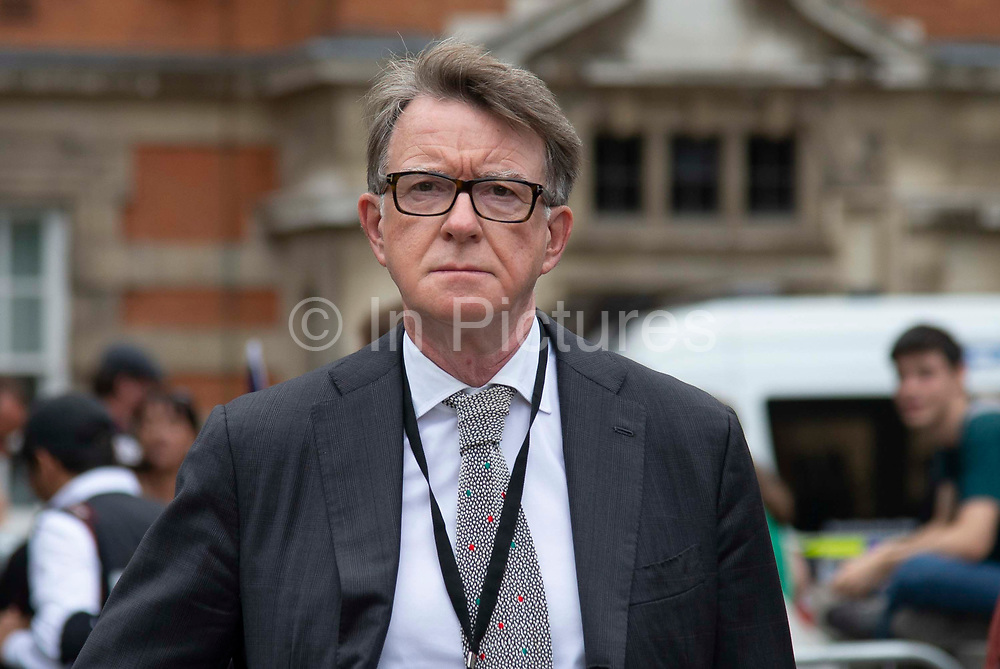 Lord Peter Mandelson, former Secretary Of State For Northern Ireland in Westminster on the day that Parliament reconvenes after summer recess to debate and vote on a bill to prevent the UK leaving the EU without a deal at the end of October, on 3rd September 2019 in London, England, United Kingdom.